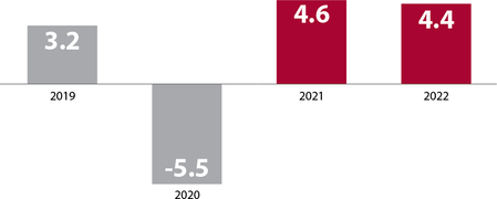 Column chart showing economic growth